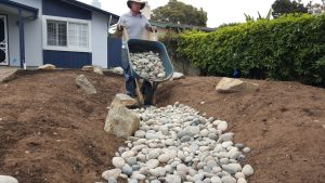 Building a swale for a rain garden in San Luis Obispo, CA