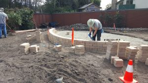 Building a block wall in San Luis Obispo, CA