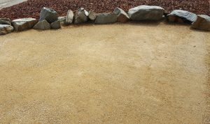 A permeable patio made from DG