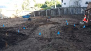Excavating for patio and walkway