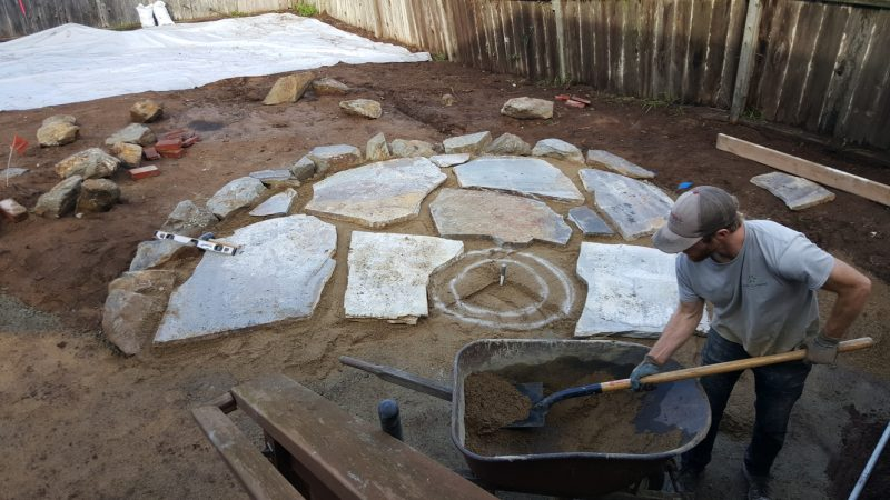 Installing flagstone in patio